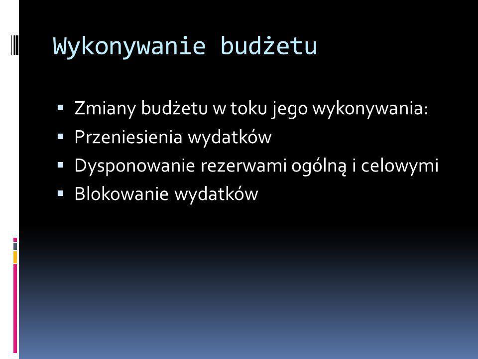 Wykonywanie budżetu Zmiany budżetu w toku jego wykonywania: