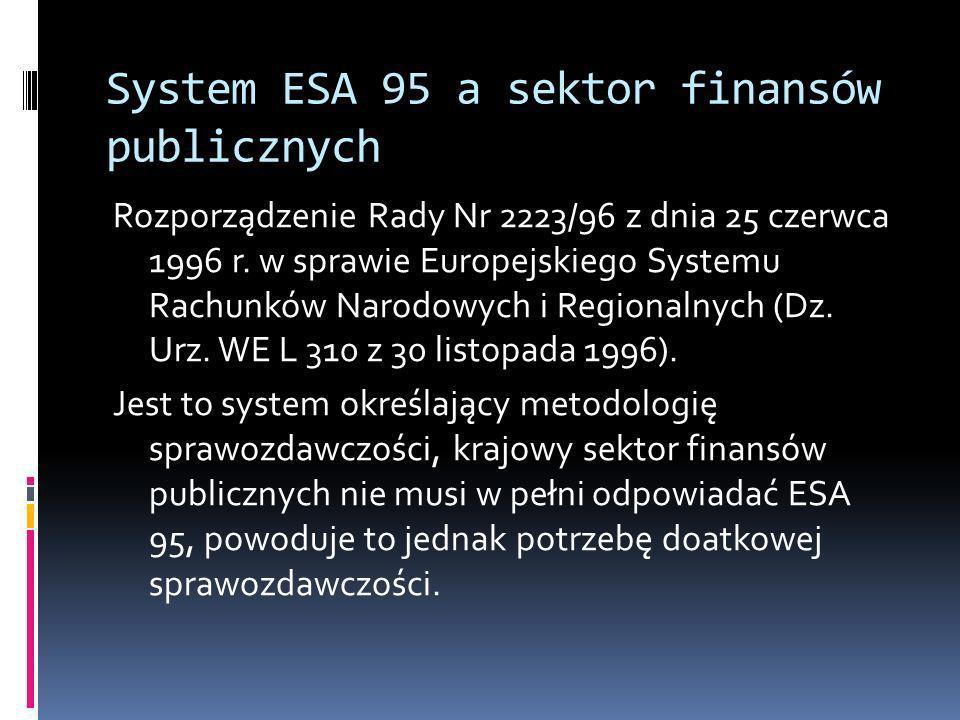 System ESA 95 a sektor finansów publicznych