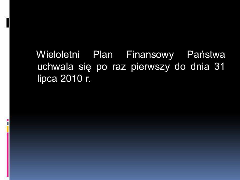 Wieloletni Plan Finansowy Państwa uchwala się po raz pierwszy do dnia 31 lipca 2010 r.