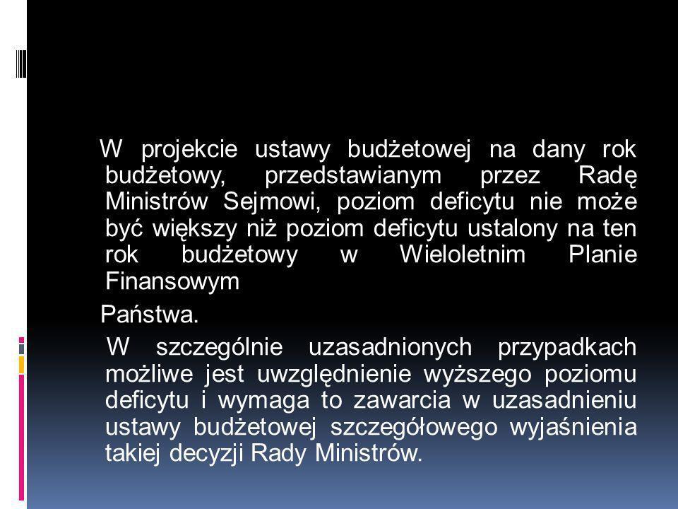 W projekcie ustawy budżetowej na dany rok budżetowy, przedstawianym przez Radę Ministrów Sejmowi, poziom deficytu nie może być większy niż poziom deficytu ustalony na ten rok budżetowy w Wieloletnim Planie Finansowym Państwa.