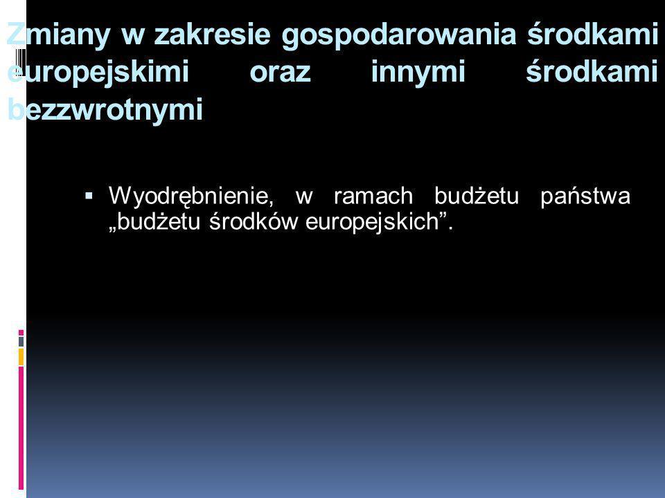 Zmiany w zakresie gospodarowania środkami europejskimi oraz innymi środkami bezzwrotnymi