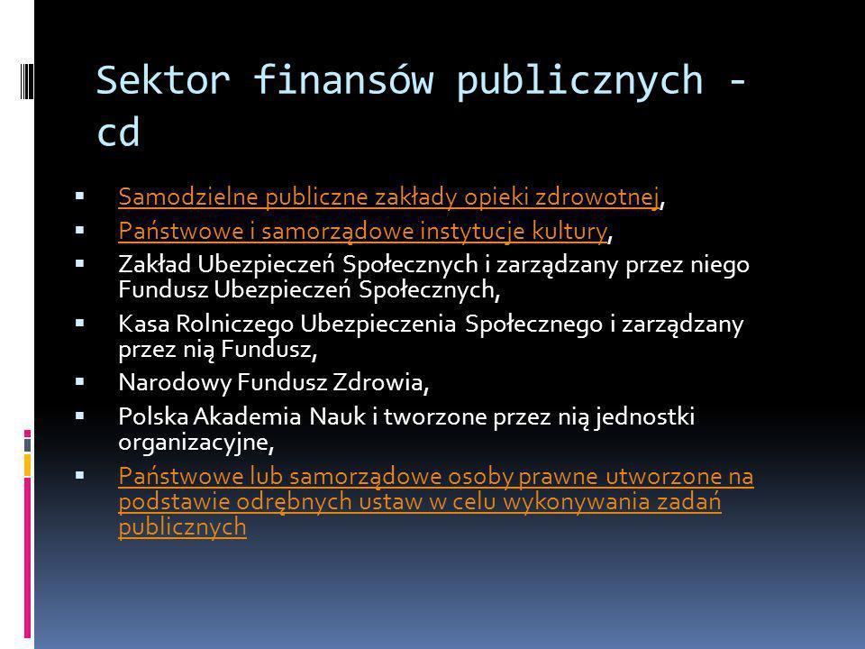 Sektor finansów publicznych - cd