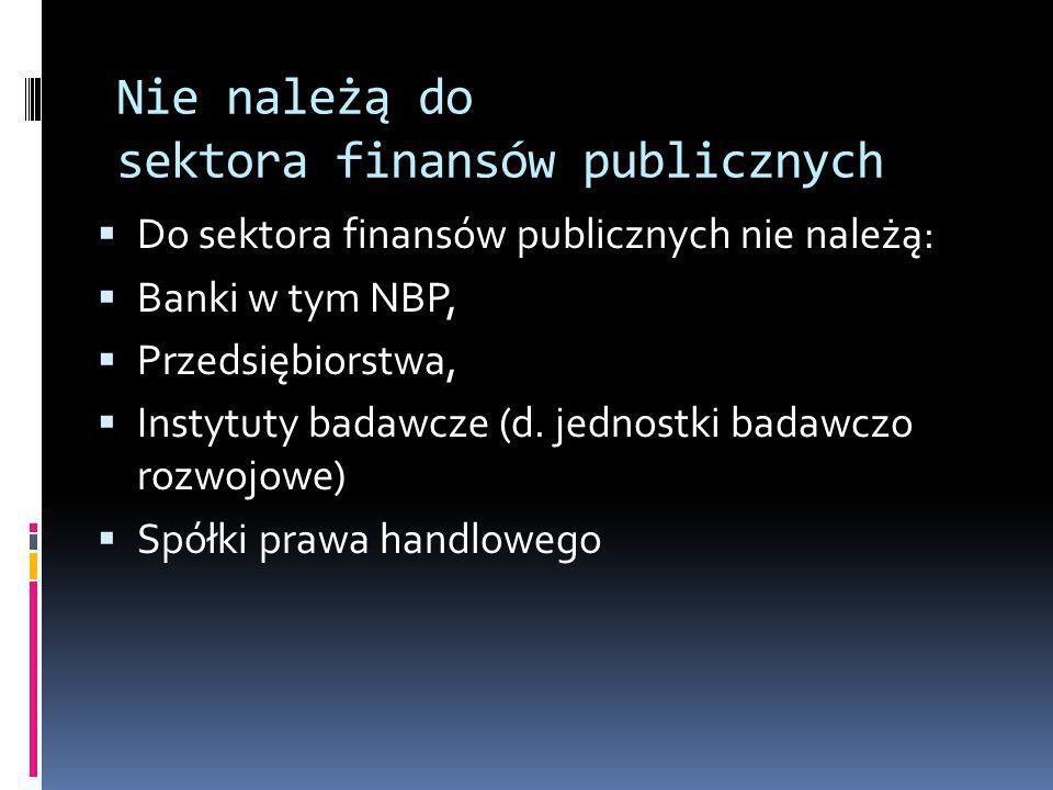 Nie należą do sektora finansów publicznych