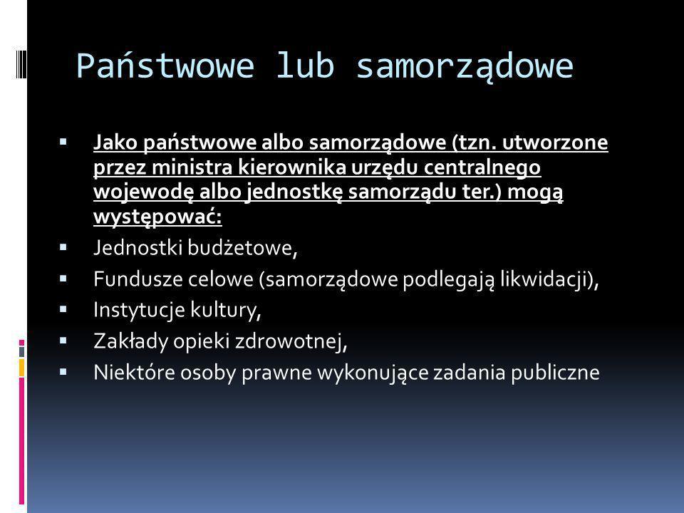 Państwowe lub samorządowe
