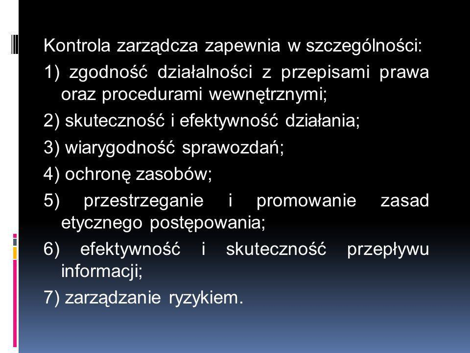 Kontrola zarządcza zapewnia w szczególności: 1) zgodność działalności z przepisami prawa oraz procedurami wewnętrznymi; 2) skuteczność i efektywność działania; 3) wiarygodność sprawozdań; 4) ochronę zasobów; 5) przestrzeganie i promowanie zasad etycznego postępowania; 6) efektywność i skuteczność przepływu informacji; 7) zarządzanie ryzykiem.
