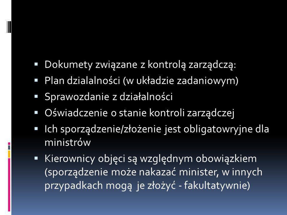 Dokumety związane z kontrolą zarządczą: