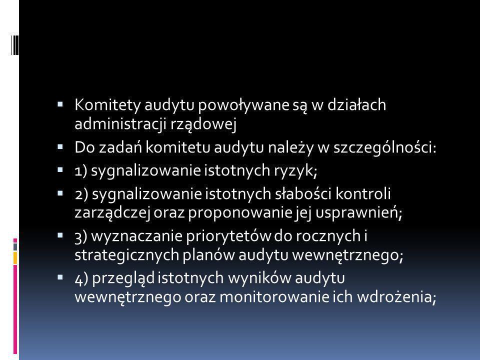 Komitety audytu powoływane są w działach administracji rządowej