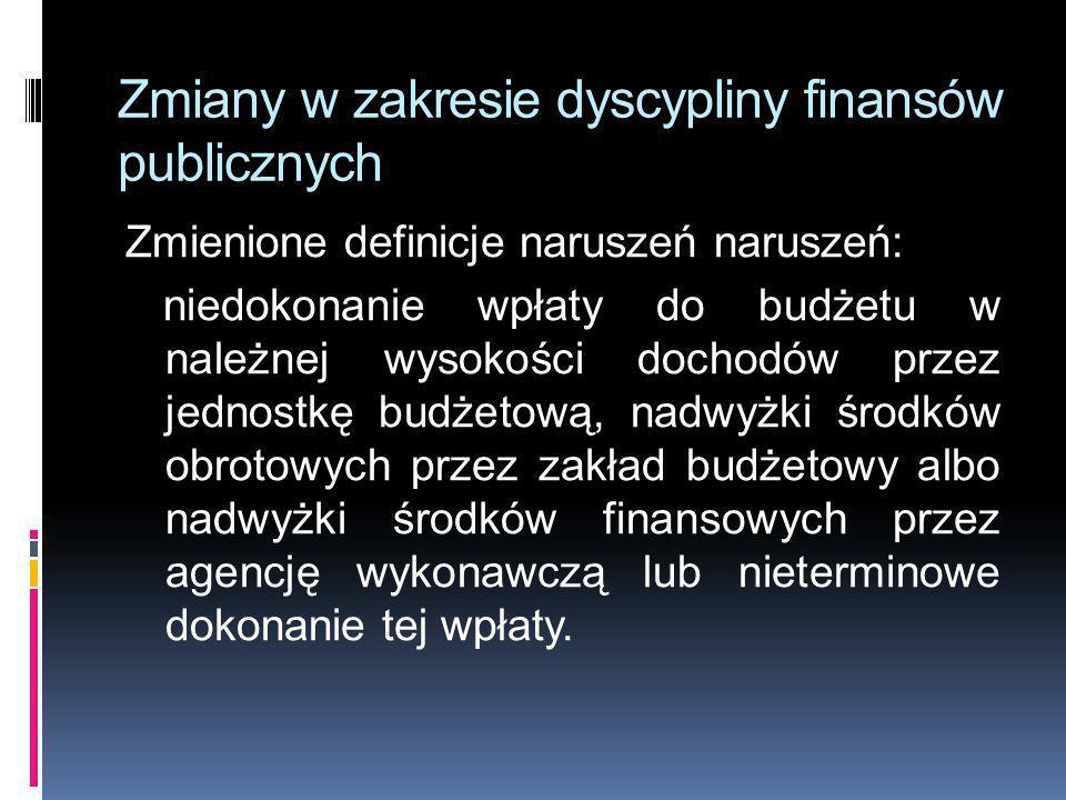 Zmiany w zakresie dyscypliny finansów publicznych