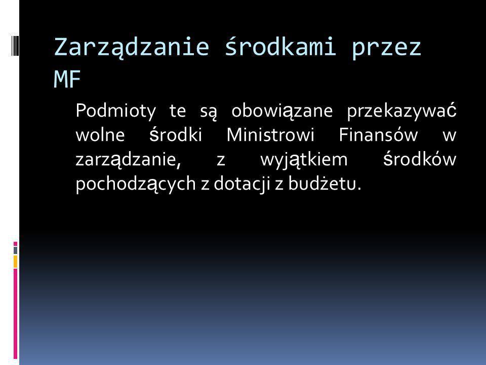 Zarządzanie środkami przez MF