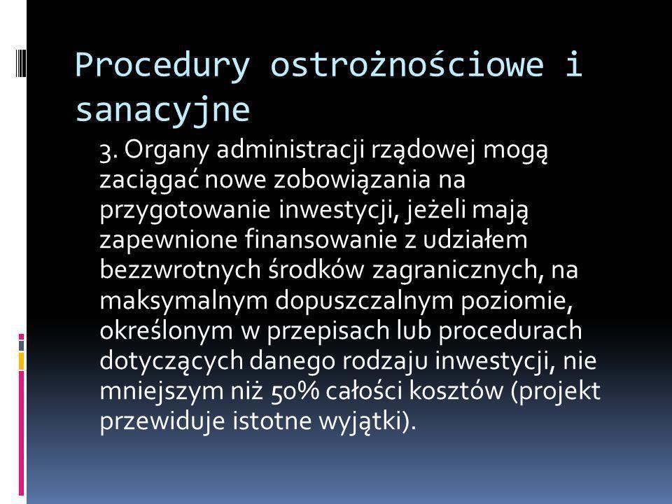 Procedury ostrożnościowe i sanacyjne