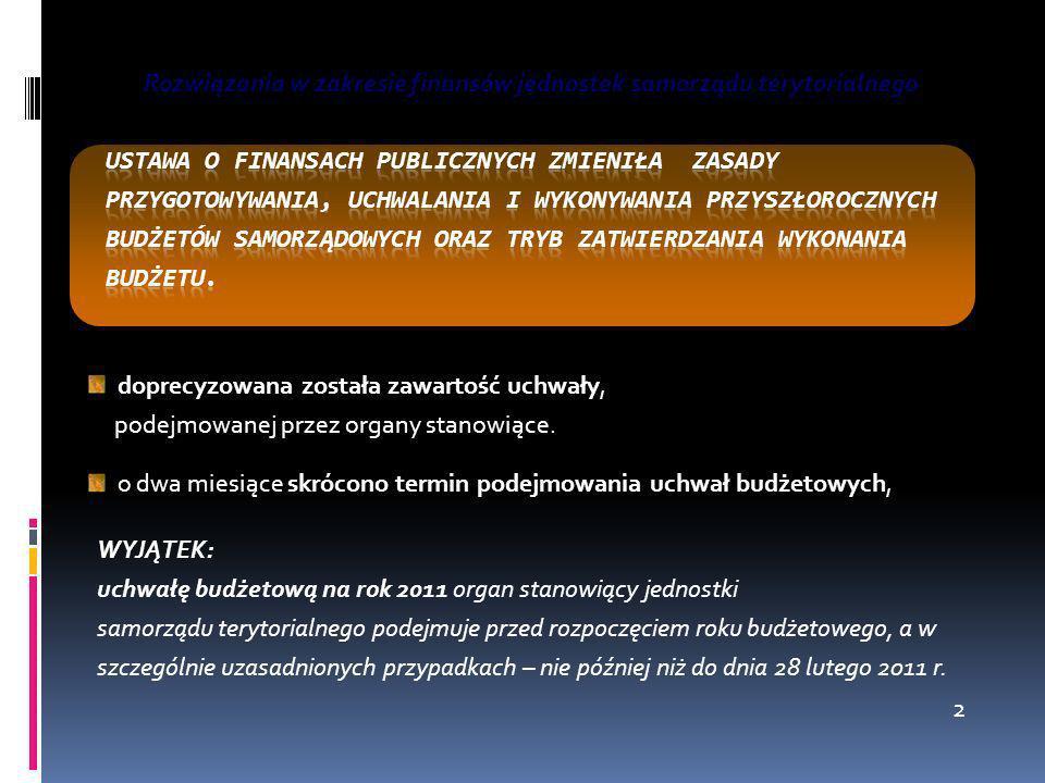 Rozwiązania w zakresie finansów jednostek samorządu terytorialnego