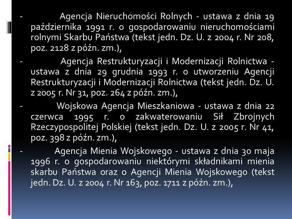 - Agencja Nieruchomości Rolnych - ustawa z dnia 19 października 1991 r