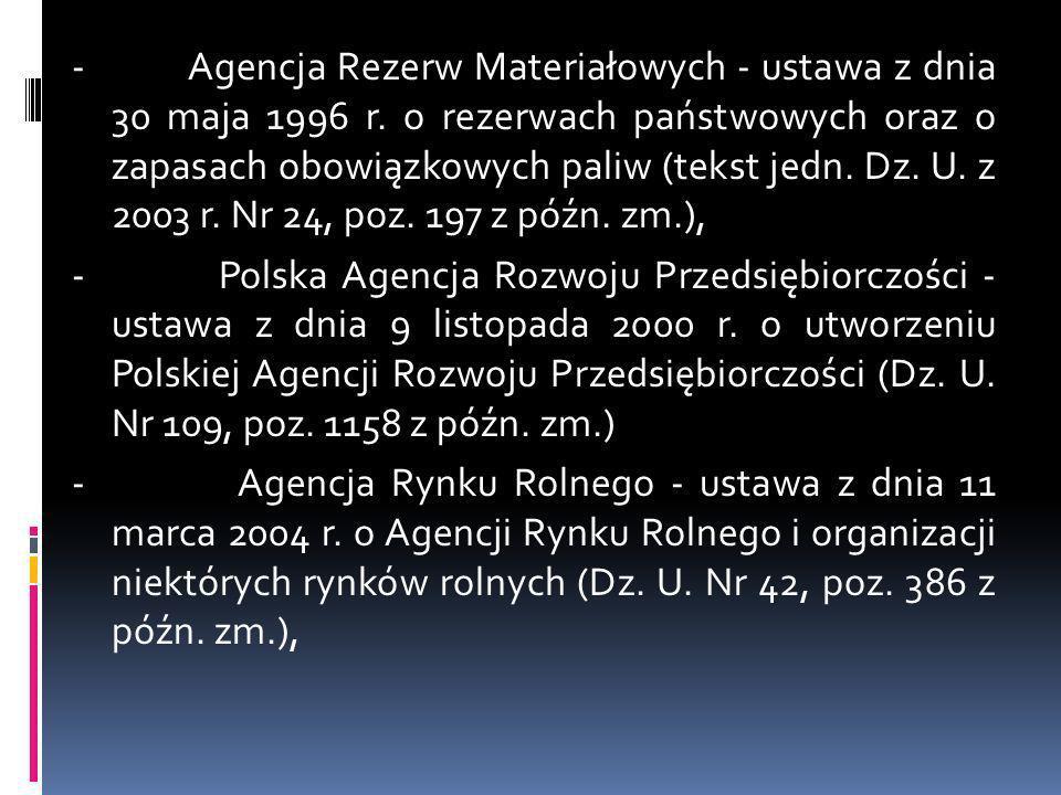 - Agencja Rezerw Materiałowych - ustawa z dnia 30 maja 1996 r