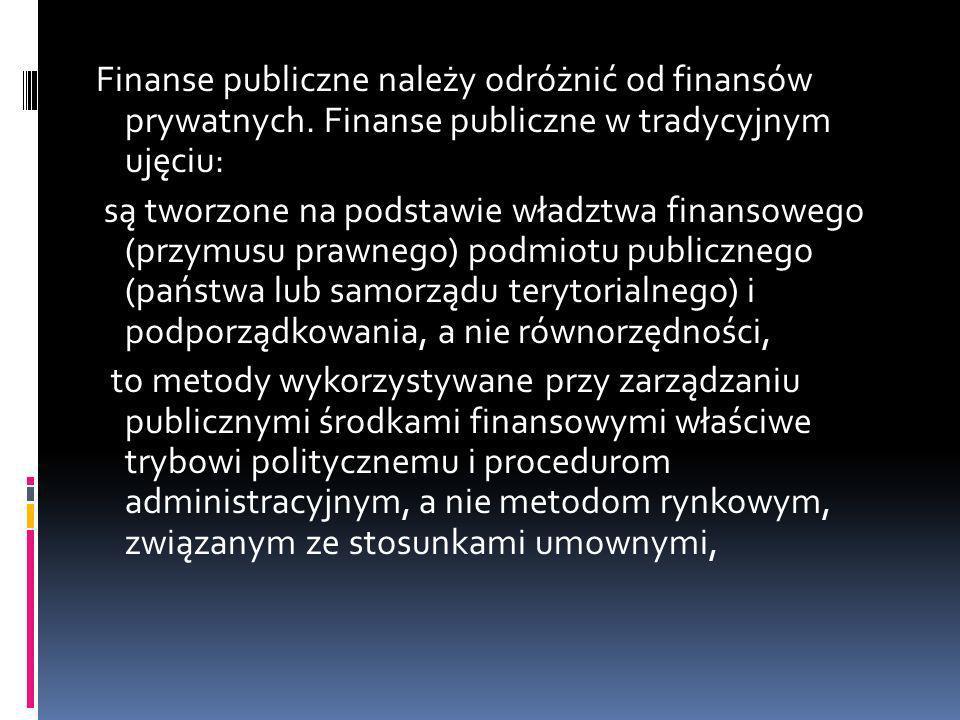 Finanse publiczne należy odróżnić od finansów prywatnych