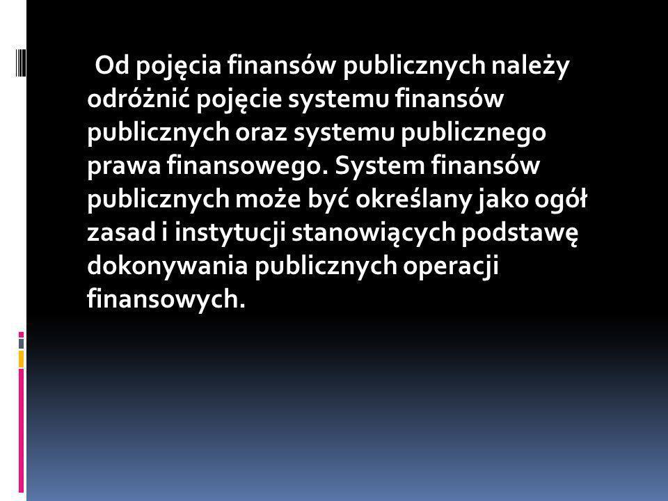 Od pojęcia finansów publicznych należy odróżnić pojęcie systemu finansów publicznych oraz systemu publicznego prawa finansowego.