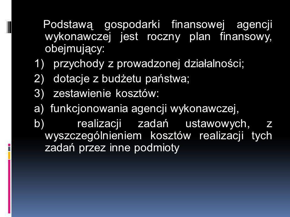 Podstawą gospodarki finansowej agencji wykonawczej jest roczny plan finansowy, obejmujący: 1) przychody z prowadzonej działalności; 2) dotacje z budżetu państwa; 3) zestawienie kosztów: a) funkcjonowania agencji wykonawczej, b) realizacji zadań ustawowych, z wyszczególnieniem kosztów realizacji tych zadań przez inne podmioty