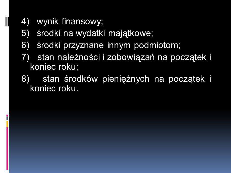 4) wynik finansowy; 5) środki na wydatki majątkowe; 6) środki przyznane innym podmiotom; 7) stan należności i zobowiązań na początek i koniec roku; 8) stan środków pieniężnych na początek i koniec roku.