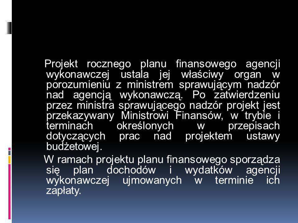 Projekt rocznego planu finansowego agencji wykonawczej ustala jej właściwy organ w porozumieniu z ministrem sprawującym nadzór nad agencją wykonawczą.