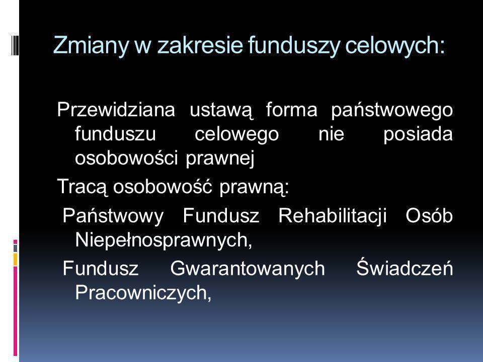 Zmiany w zakresie funduszy celowych: