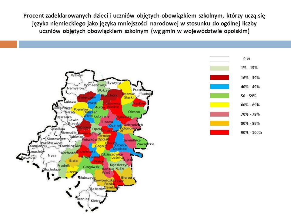 Procent zadeklarowanych dzieci i uczniów objętych obowiązkiem szkolnym, którzy uczą się języka niemieckiego jako języka mniejszości narodowej w stosunku do ogólnej liczby uczniów objętych obowiązkiem szkolnym (wg gmin w województwie opolskim)