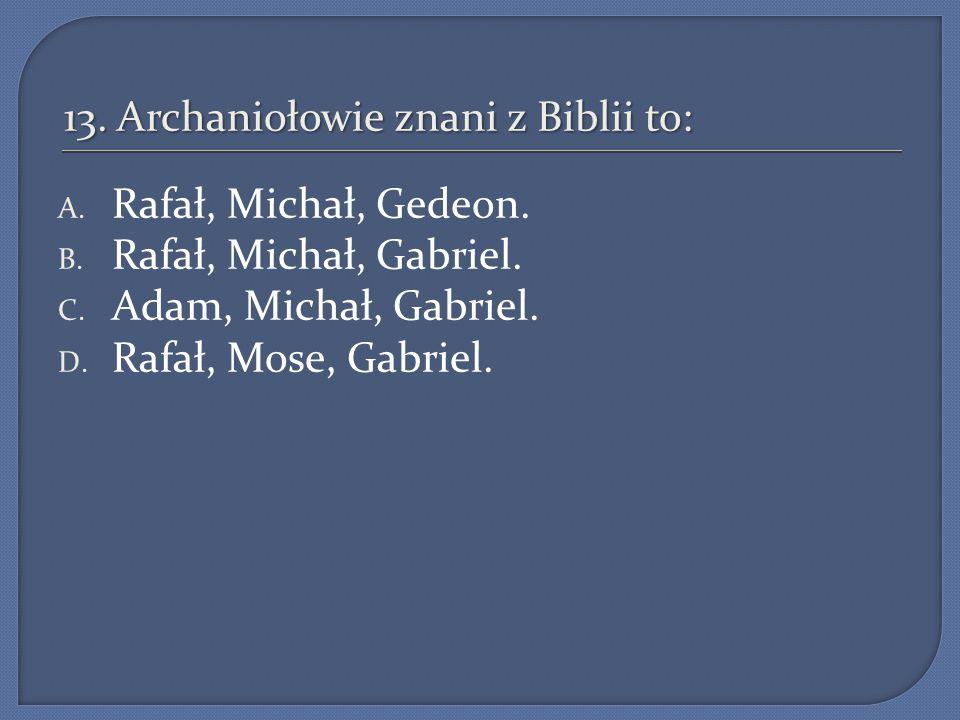 13. Archaniołowie znani z Biblii to: