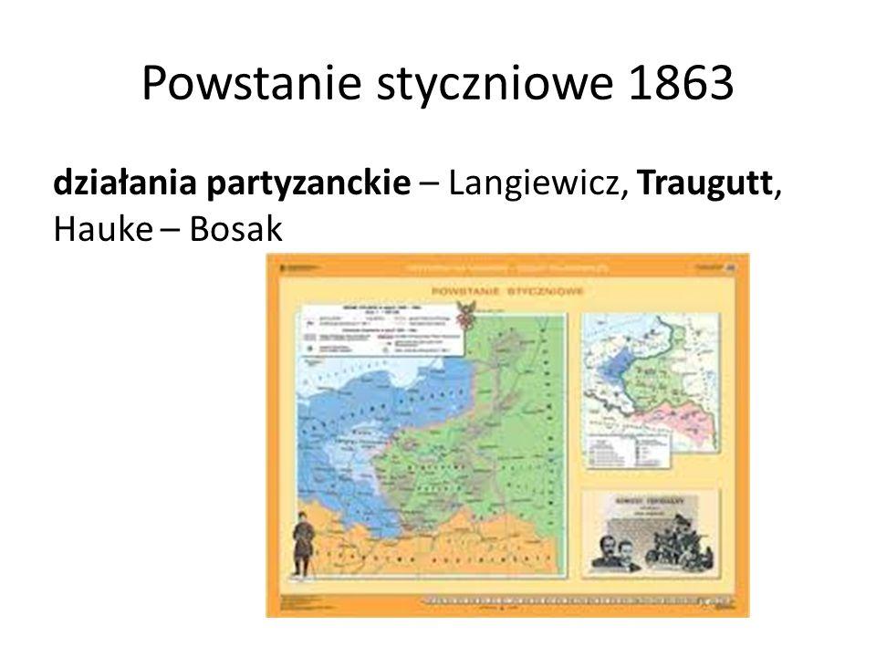 Powstanie styczniowe 1863 działania partyzanckie – Langiewicz, Traugutt, Hauke – Bosak