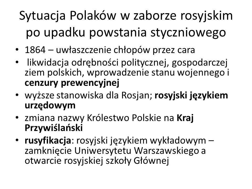 Sytuacja Polaków w zaborze rosyjskim po upadku powstania styczniowego