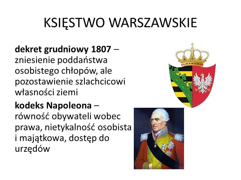KSIĘSTWO WARSZAWSKIE dekret grudniowy 1807 – zniesienie poddaństwa osobistego chłopów, ale pozostawienie szlachcicowi własności ziemi.