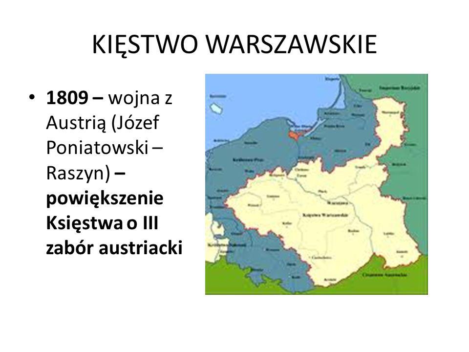KIĘSTWO WARSZAWSKIE 1809 – wojna z Austrią (Józef Poniatowski – Raszyn) – powiększenie Księstwa o III zabór austriacki.