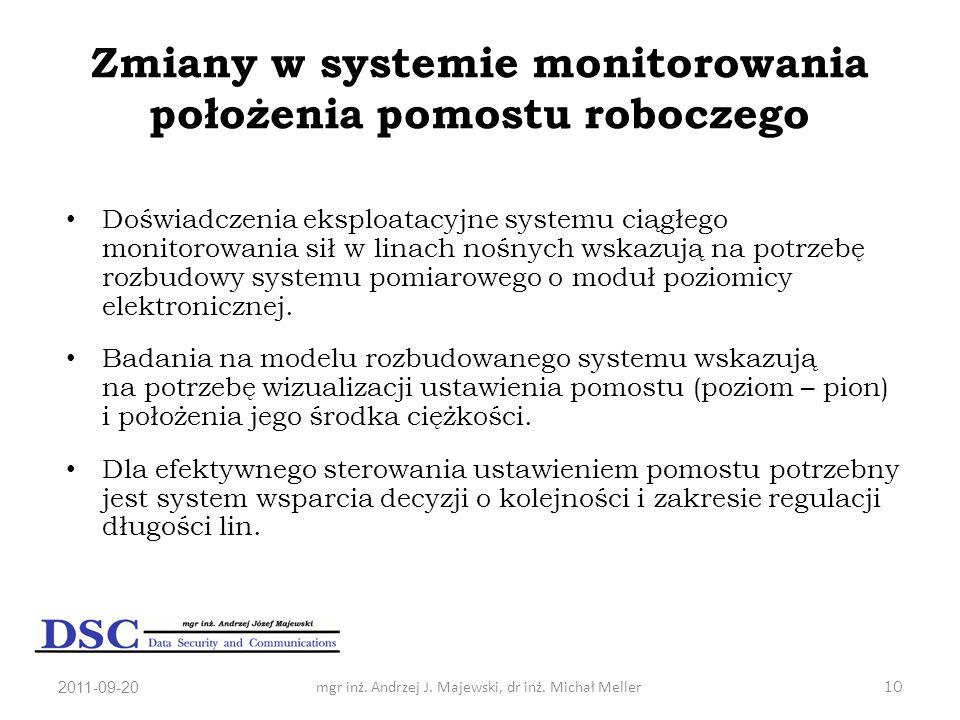 Zmiany w systemie monitorowania położenia pomostu roboczego