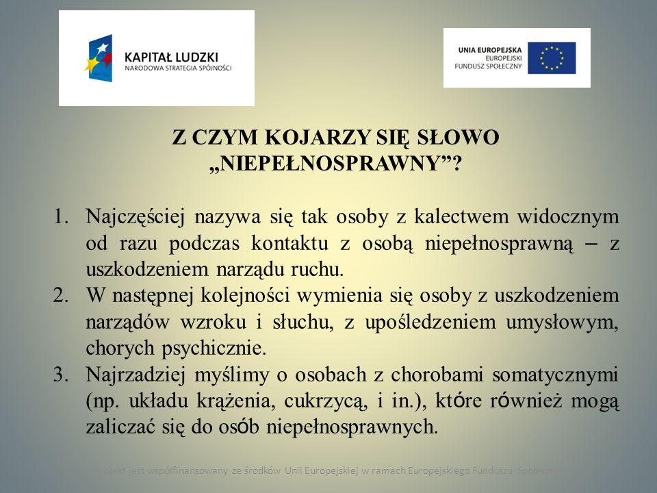 """Z CZYM KOJARZY SIĘ SŁOWO """"NIEPEŁNOSPRAWNY"""