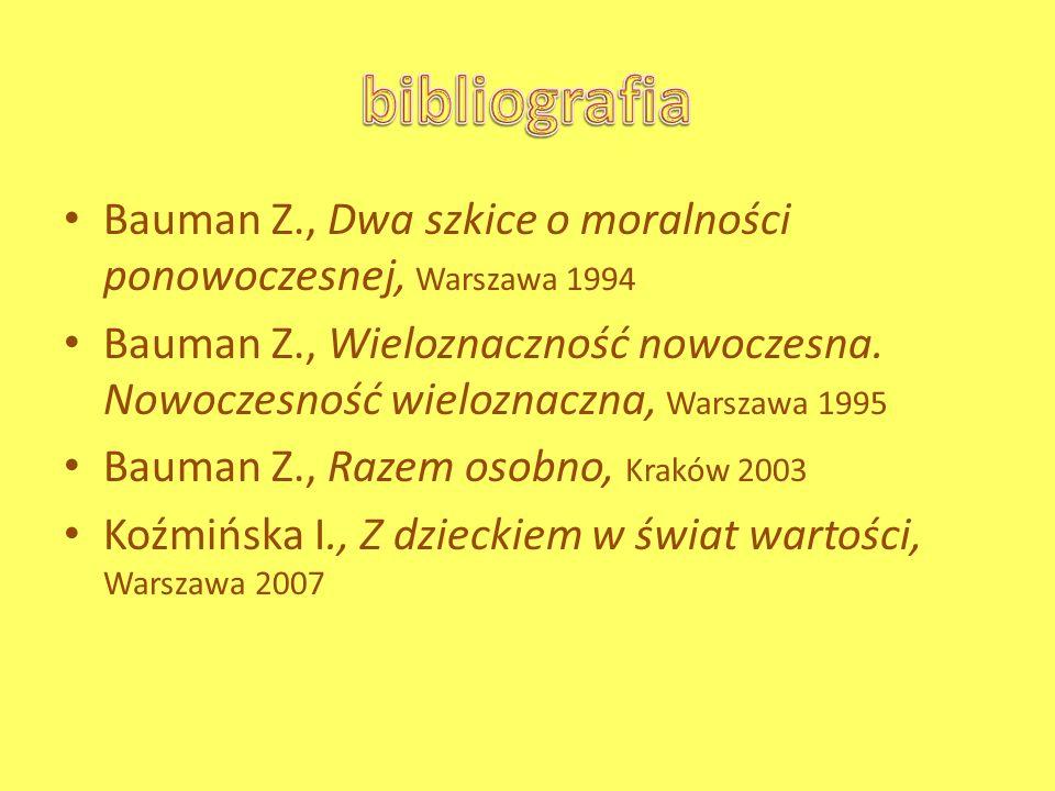 bibliografia Bauman Z., Dwa szkice o moralności ponowoczesnej, Warszawa 1994.