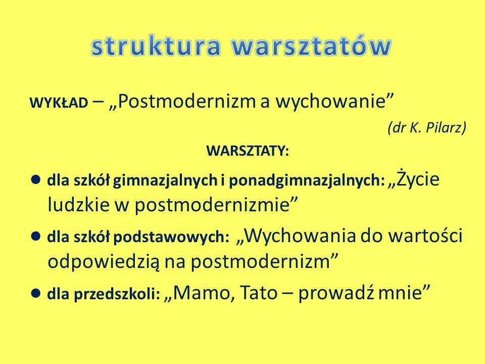 """struktura warsztatów WYKŁAD – """"Postmodernizm a wychowanie (dr K. Pilarz) WARSZTATY:"""