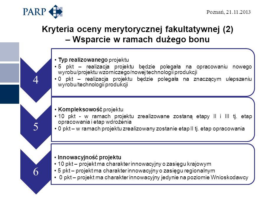 Kryteria oceny merytorycznej fakultatywnej (2) – Wsparcie w ramach dużego bonu
