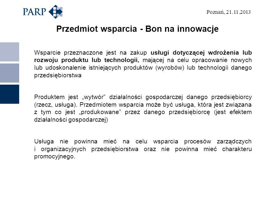 Przedmiot wsparcia - Bon na innowacje