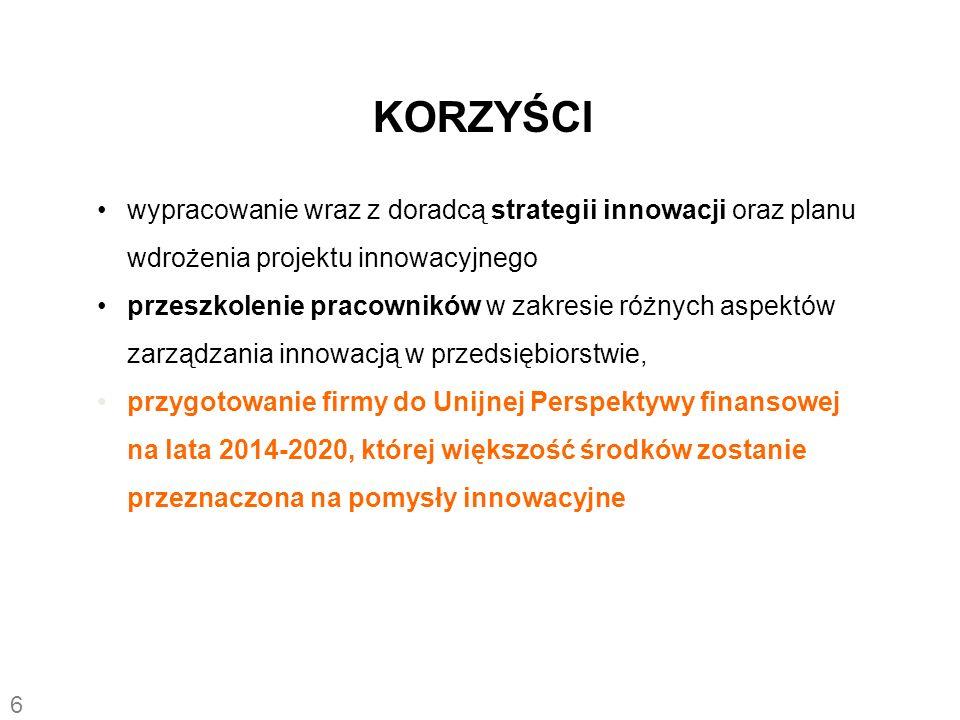 KORZYŚCI wypracowanie wraz z doradcą strategii innowacji oraz planu wdrożenia projektu innowacyjnego.
