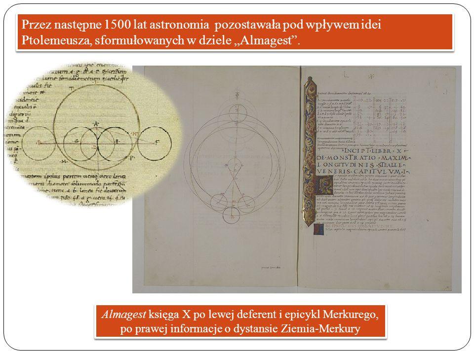 """Przez następne 1500 lat astronomia pozostawała pod wpływem idei Ptolemeusza, sformułowanych w dziele """"Almagest ."""