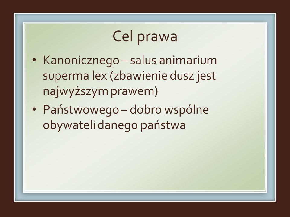 Cel prawa Kanonicznego – salus animarium superma lex (zbawienie dusz jest najwyższym prawem) Państwowego – dobro wspólne obywateli danego państwa.