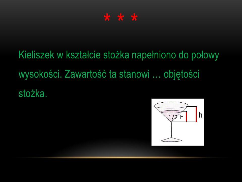 * * *Kieliszek w kształcie stożka napełniono do połowy wysokości.