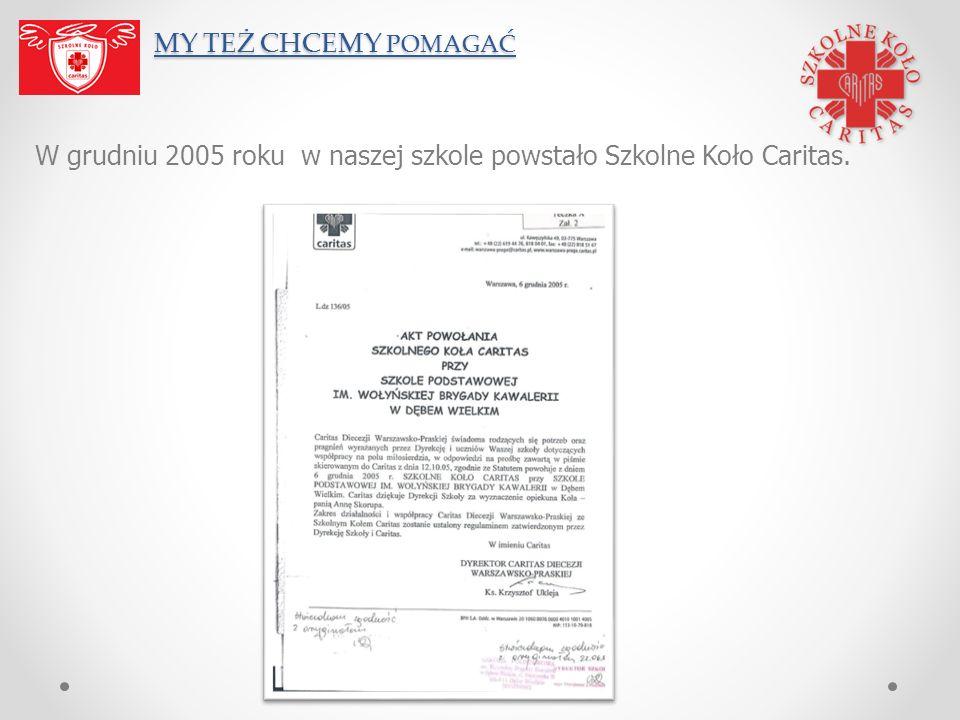 MY TEŻ CHCEMY POMAGAĆ W grudniu 2005 roku w naszej szkole powstało Szkolne Koło Caritas.