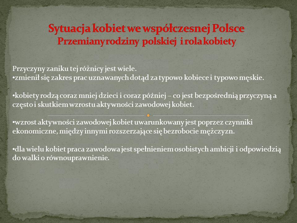 Sytuacja kobiet we współczesnej Polsce Przemiany rodziny polskiej i rola kobiety