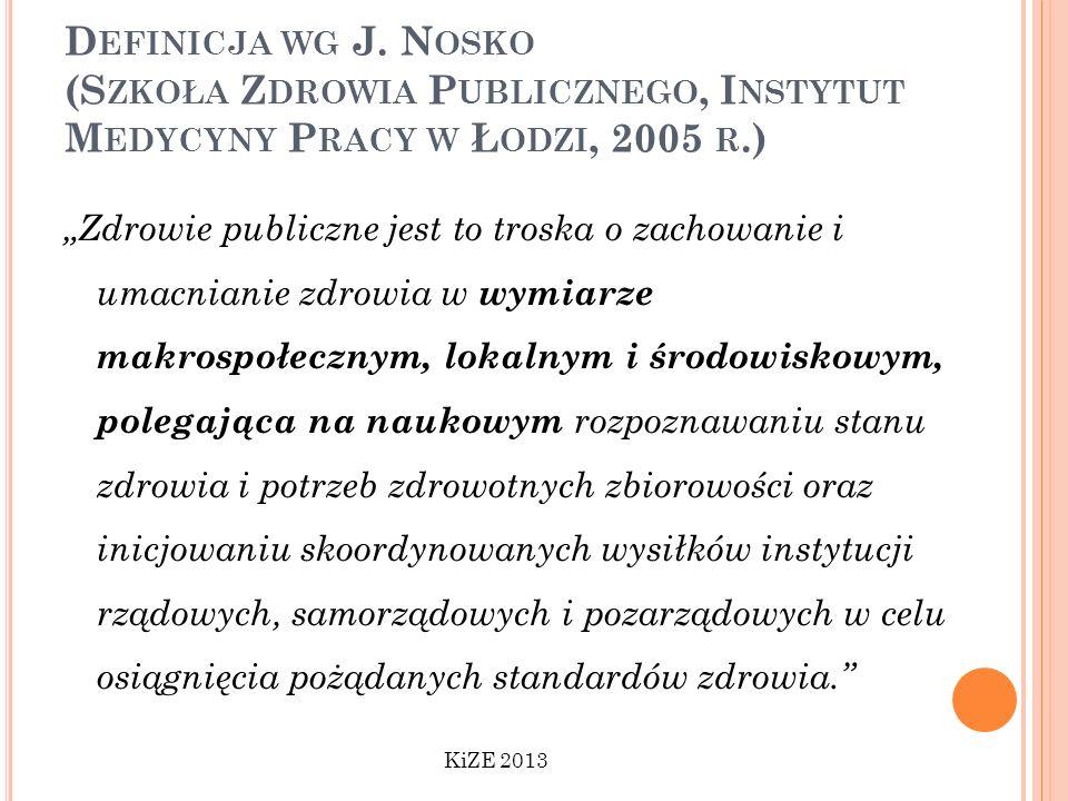 Definicja wg J. Nosko (Szkoła Zdrowia Publicznego, Instytut Medycyny Pracy w Łodzi, 2005 r.)