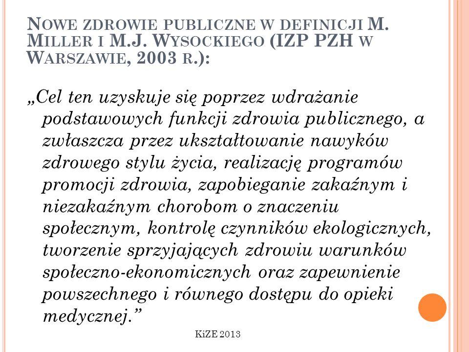 Nowe zdrowie publiczne w definicji M. Miller i M. J