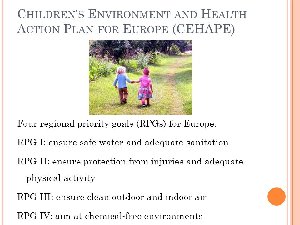Children s Environment and Health Action Plan for Europe (CEHAPE)