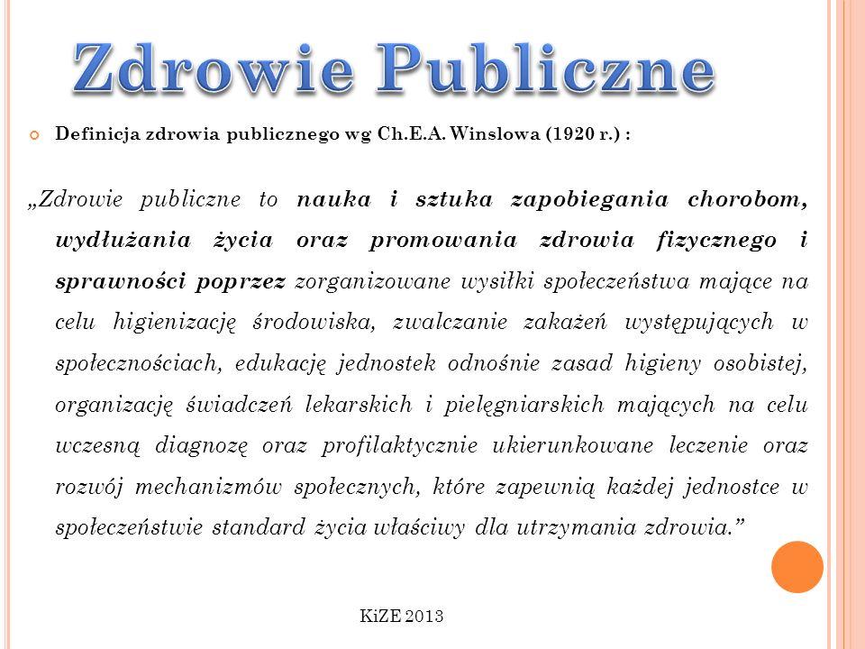 Zdrowie Publiczne Definicja zdrowia publicznego wg Ch.E.A. Winslowa (1920 r.) :