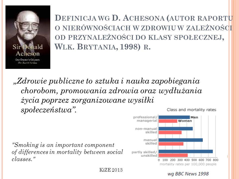Definicja wg D. Achesona (autor raportu o nierównościach w zdrowiu w zależności od przynależności do klasy społecznej, Wlk. Brytania, 1998) r.