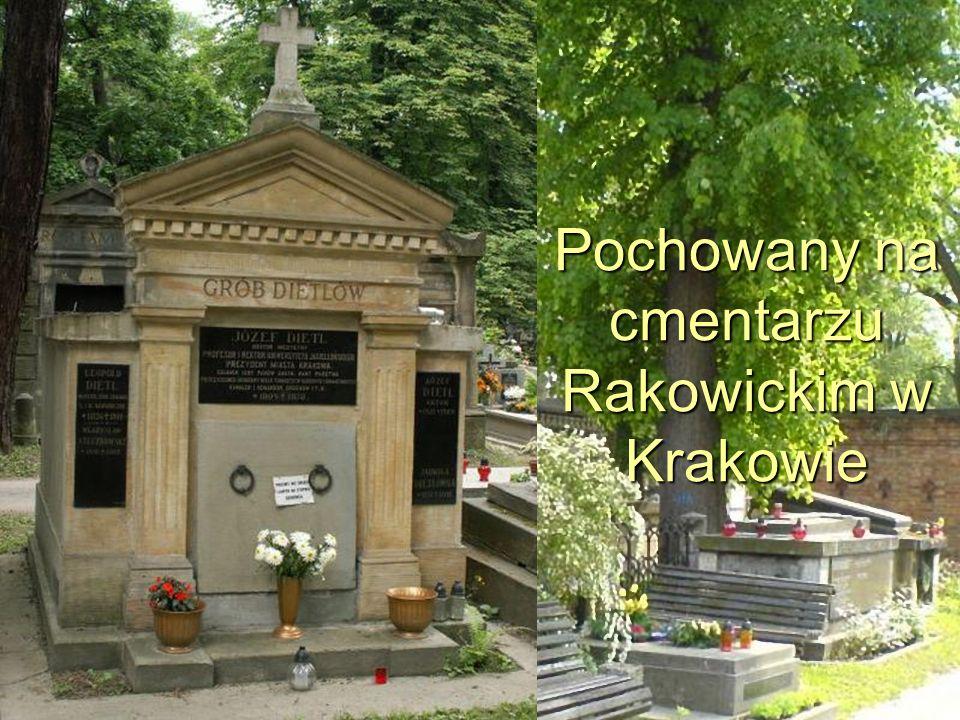 Pochowany na cmentarzu Rakowickim w Krakowie