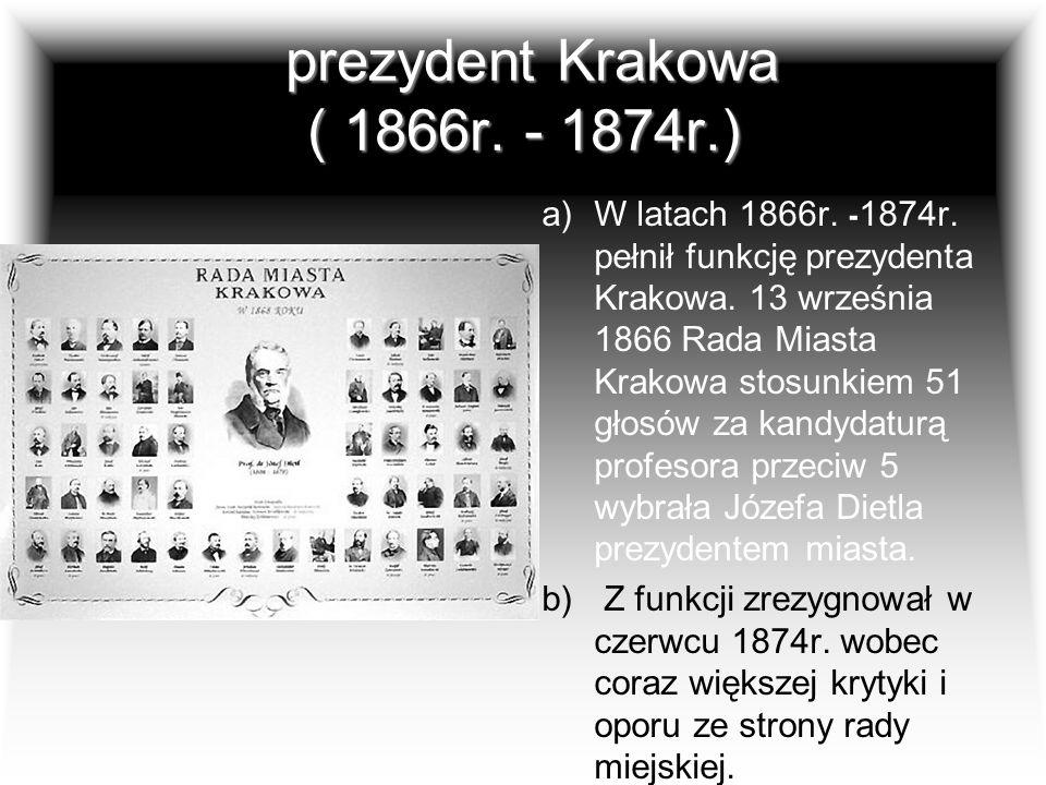 prezydent Krakowa ( 1866r. - 1874r.)