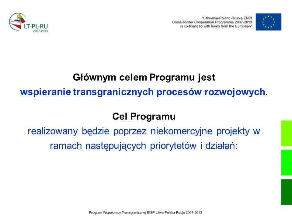 Głównym celem Programu jest wspieranie transgranicznych procesów rozwojowych.