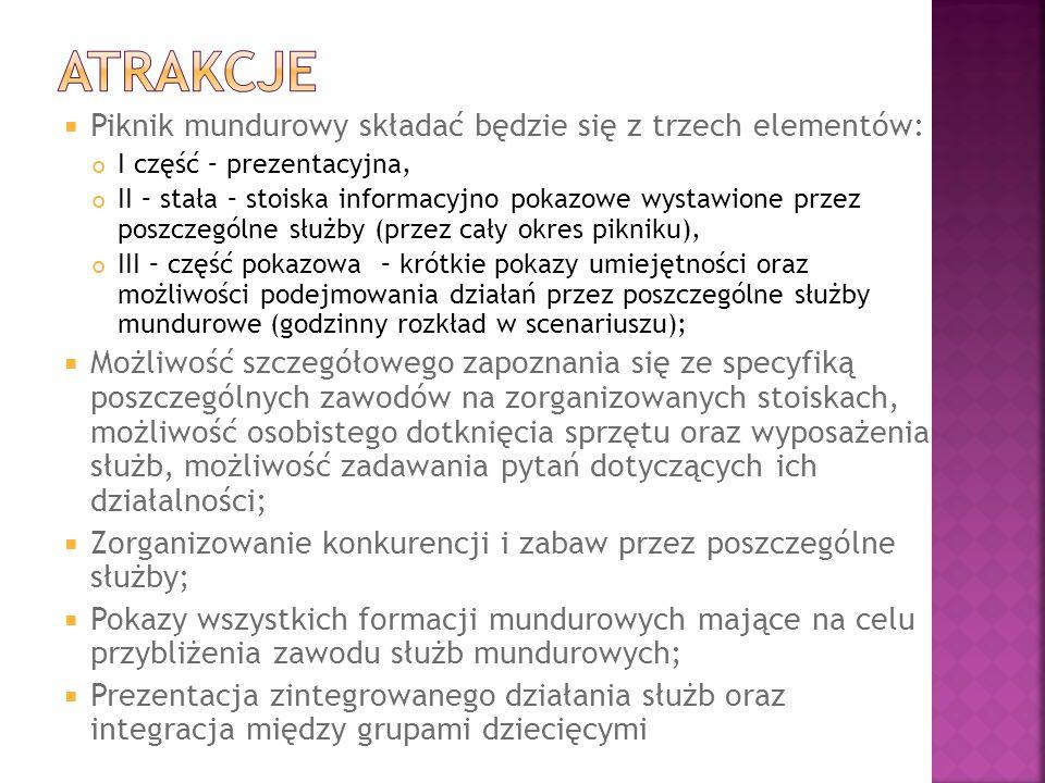 atrakcje Piknik mundurowy składać będzie się z trzech elementów: